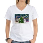 XmasMagic/ Coton Women's V-Neck T-Shirt