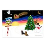 XmasSigns/2 Dachshunds Postcards (Package of 8)