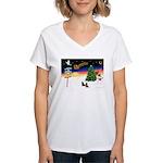 XmasSigns/2 Dachshunds Women's V-Neck T-Shirt