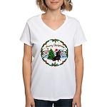XmasMusic1/Dachshund #17 Women's V-Neck T-Shirt
