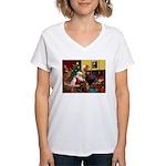 Santa/Two Dachshunds (BB) Women's V-Neck T-Shirt