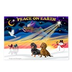 XmasSunrise/ 2 Dachshunds Postcards (Package of 8)