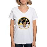 Night Flight/Dachshund #11 Women's V-Neck T-Shirt