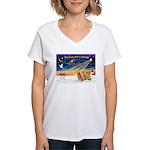 XmasSunrise/3 Goldens Women's V-Neck T-Shirt