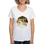 XmasDove/Golden #1B Women's V-Neck T-Shirt