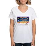 XmasSunrise/Pyrenees 1 Women's V-Neck T-Shirt