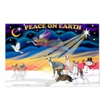 XmasSunrise/4 Ital Greyhounds Postcards (Package o
