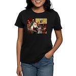 Santa's 2 Labs (Y+B) Women's Dark T-Shirt