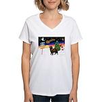 XmasSigns/Newfie Women's V-Neck T-Shirt