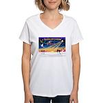 XmasSunrise/Papillon #1 Women's V-Neck T-Shirt