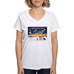 XmasSunrise/4 Poms Women's V-Neck T-Shirt
