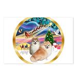 XmasMagic/2 Pomeranians Postcards (Package of 8)