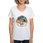 XmasMagic/2 Pomeranians Women's V-Neck T-Shirt