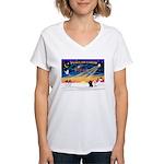 XmasSunrise/2 Poodles Women's V-Neck T-Shirt