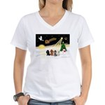 Night Flight/4 Poodles Women's V-Neck T-Shirt