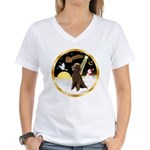 Night Flight/Poodle Std(choc) Women's V-Neck T-Shi