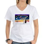 XmasSunrise/2 Std Poodles Women's V-Neck T-Shirt