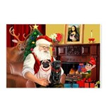 Santa's Two Pugs (P1) Postcards (Package of 8)