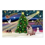 Xmas Magic & Pug Postcards (Package of 8)