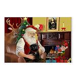 Santa's Black Pug Postcards (Package of 8)