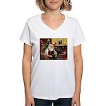 Santa's Black Pug Women's V-Neck T-Shirt