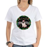 XmasMusic2MC/ Pug 11 Women's V-Neck T-Shirt