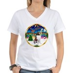 XmasMusic 3/ St Bernard #1 Women's V-Neck T-Shirt