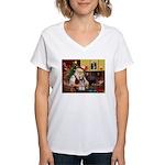 Santa's Mini Schnauzer Women's V-Neck T-Shirt