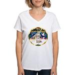 XmasSunrise/Shih Tzu Women's V-Neck T-Shirt