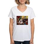 Santa's Shih Tzu (#1) Women's V-Neck T-Shirt
