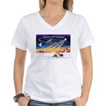 XmasSunrise/2 Silky Ter Women's V-Neck T-Shirt