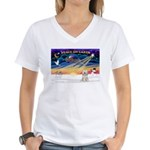 XmasSunrise/Tibet Ter Women's V-Neck T-Shirt
