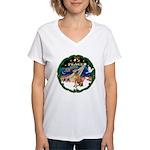 XmasSunrise/Vizsla Women's V-Neck T-Shirt