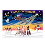 XmasSunrise/3 Whippets Postcards (Package of 8)