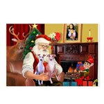 Santa & his 2 Whippets Postcards (Package of 8)