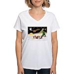 Night Flight/5 Yorkies Women's V-Neck T-Shirt