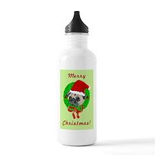 Merry Christmas Pug Water Bottle