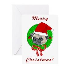 Merry Christmas Pug Greeting Cards