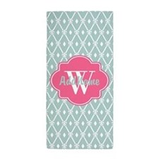 Pink Monogram and Mint Trellis Beach Towel