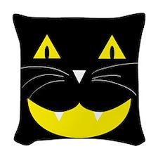 Black Cat Smile Woven Throw Pillow