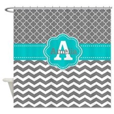 Gray Teal Chevron Personalized Shower Curtain