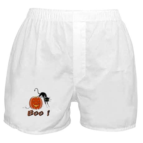 Halloween Pumpkin and Cat Boxer Shorts