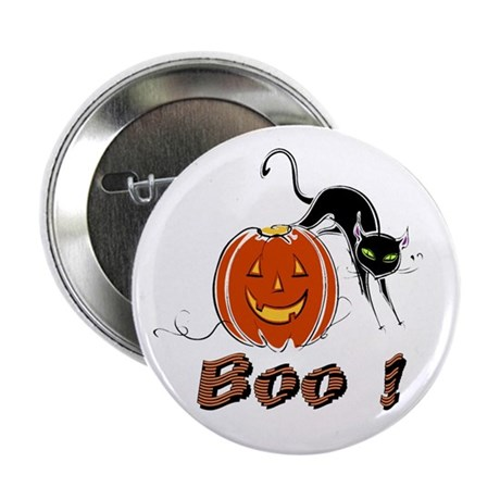 Halloween Pumpkin and Cat Button