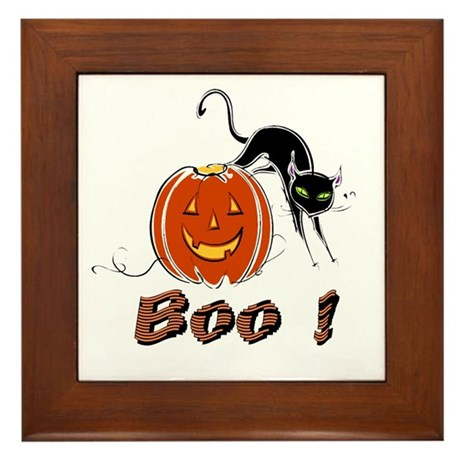 Halloween Pumpkin and Cat Framed Tile