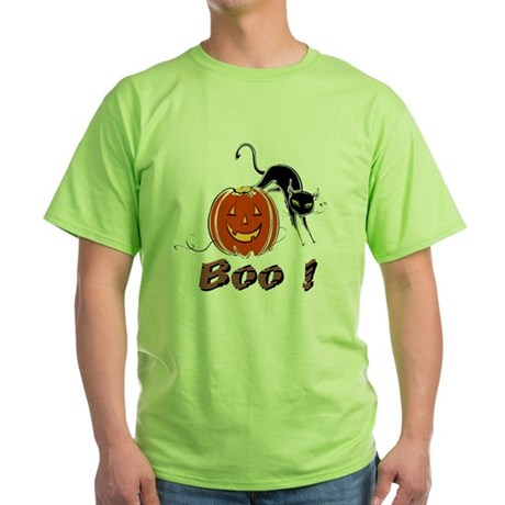 Halloween Pumpkin and Cat Green T-Shirt