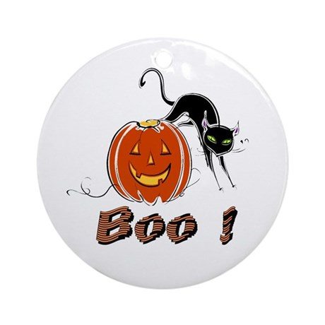 Halloween Pumpkin and Cat Ornament (Round)
