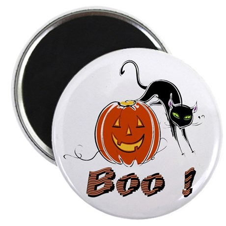 "Halloween Pumpkin and Cat 2.25"" Magnet (10 pack)"