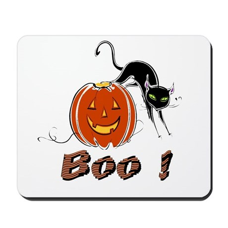 Halloween Pumpkin and Cat Mousepad