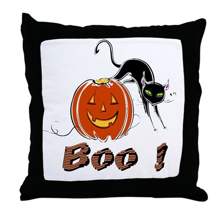 Halloween Pumpkin and Cat Throw Pillow