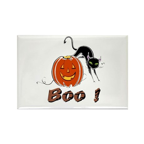 Halloween Pumpkin and Cat Rectangle Magnet (100 pa